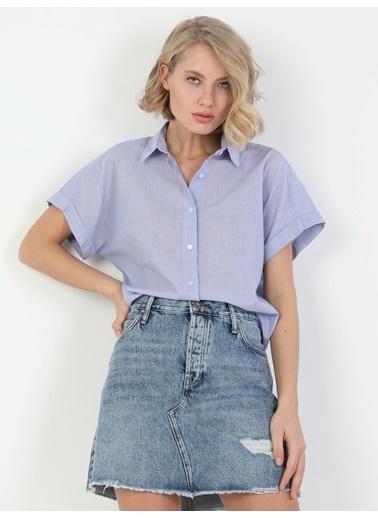 Colin's Regular Fit Shirt Neck Kadın Pembe Kısa Kol Gömlek Mavi